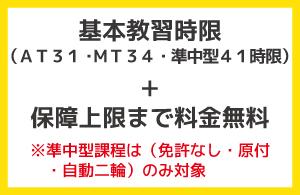 基本教習時限(AT31・MT34・準中型41時限)+保障上限まで料金無料※準中型課程は(免許なし・原付・自動二輪)のみ対象